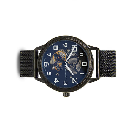 Mr. Beaumont automatic men's skeleton watch with a black mesh strap