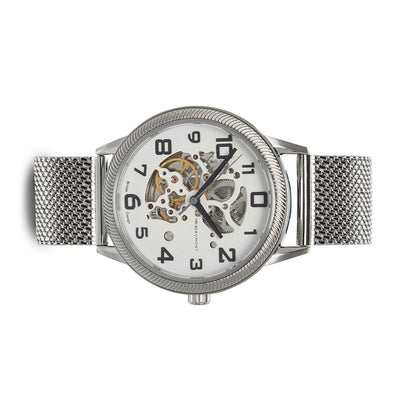 Mr. Beaumont automatic men's skeleton watch with a silver mesh band