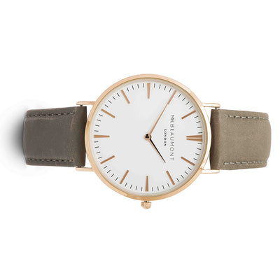 Mr Beaumont Leather Grey/Rosegold case