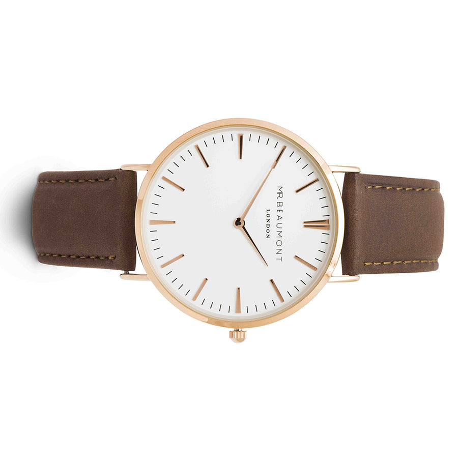 Mr Beaumont Leather Brown/Rosegold case