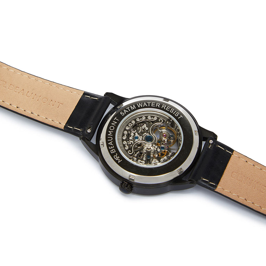 Mr Beaumont Automatic Skeleton Watch Black Case/Black Mesh Strap