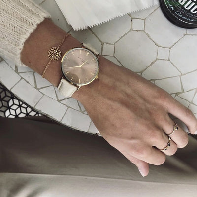 Vegan Oxford Large Coffee Dial/Cream