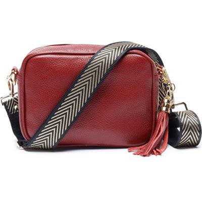 Crossbody Wine (Gold Chevron strap)