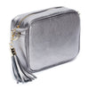 Crossbody Metallic Pewter (Black/White/Gold Strap)