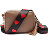 Crossbody Taupe (Red Hearts Strap)