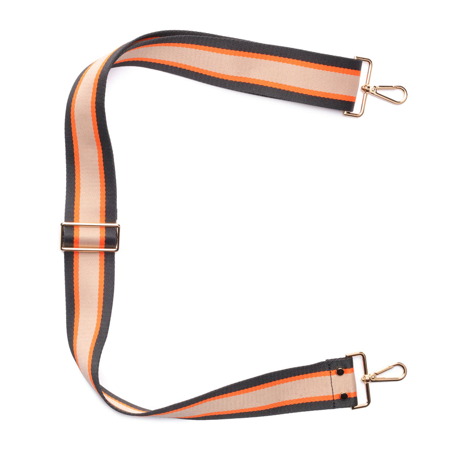 Crossbody strap - Orange Black Stripe