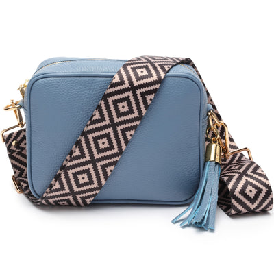 Crossbody Light Blue Orange-Black Stripe