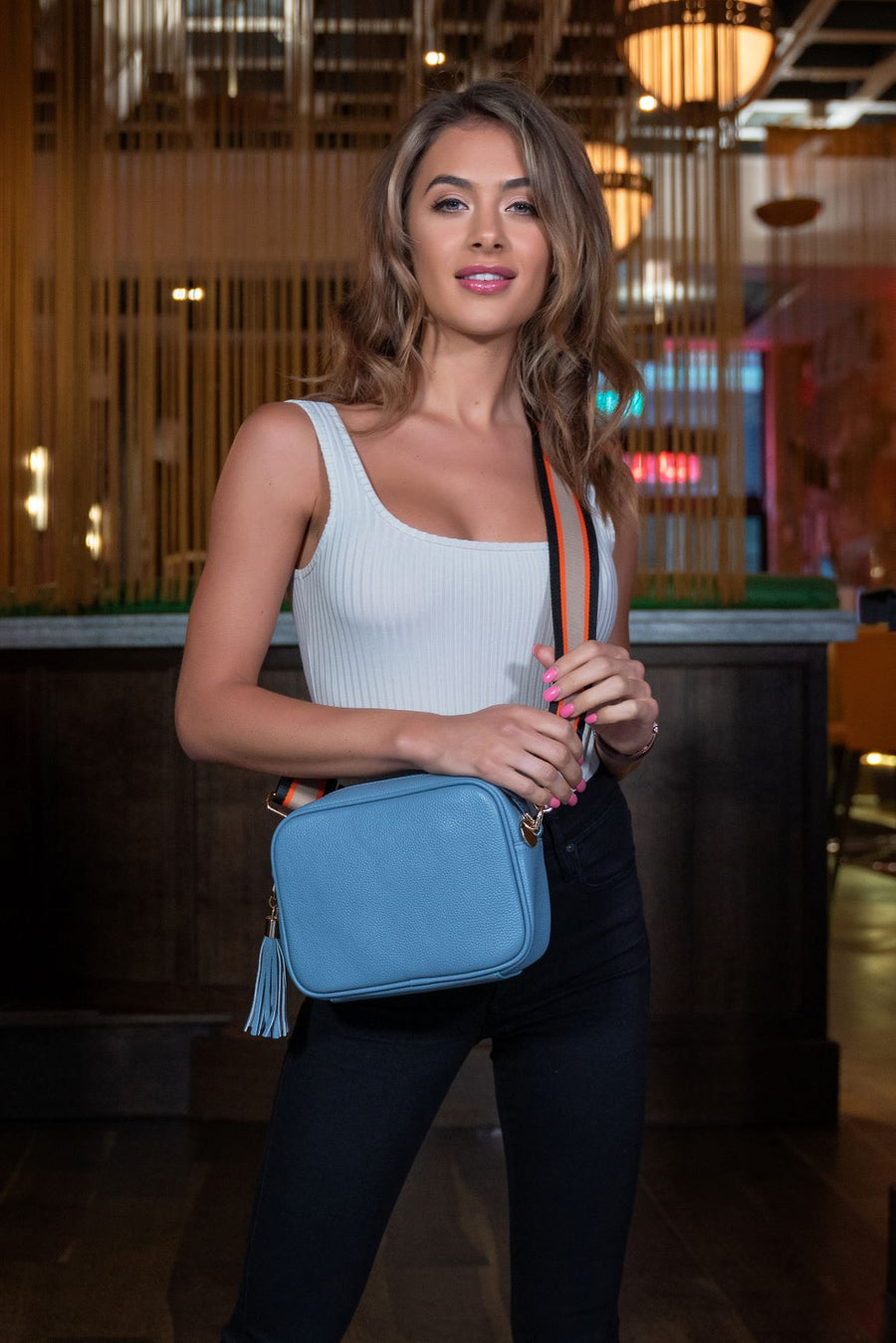 Crossbody Light Blue (Red Hearts Strap)