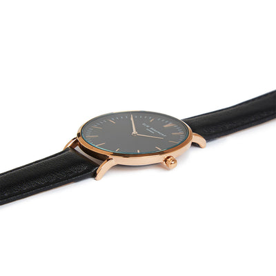 Oxford Large Black Strap Black Dial