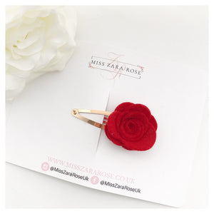 Design Your Own Bespoke Wool Felt Rose Snap Clip (single clip, 54 colour choices)
