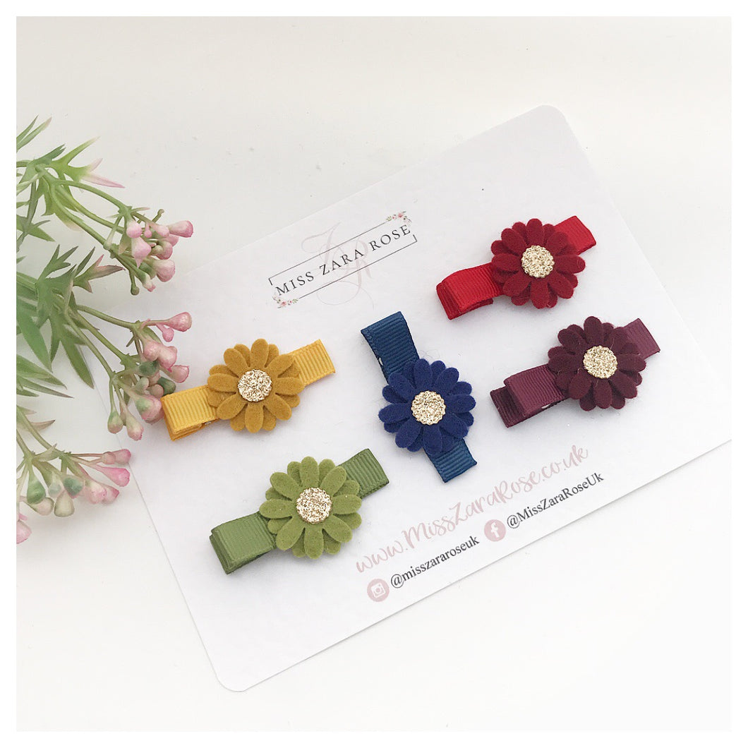 'Autumn Essentials' Tiny Daisy Fringe Clip Set
