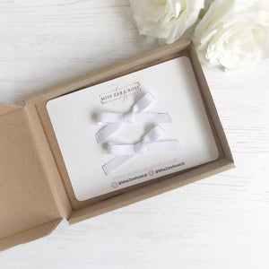 White Hand Tied Ribbon Bow Pigtail Clips (pair)