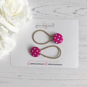 Raspberry Pink Polka Hair Bobbles (pair)