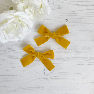 Mustard Pigtail Clips (pair)