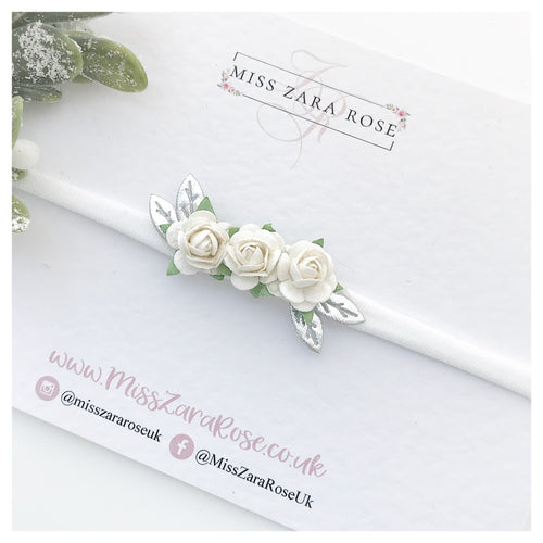 White and Silver Dainty Rose (Headband or Clip)