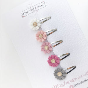 'Design Your Own' Bespoke Daisy Snap Clip Set (five clips)