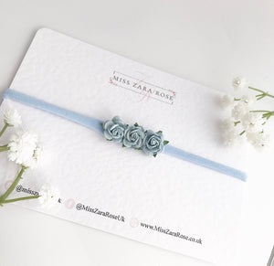 Baby Blue Dainty Rose Headband