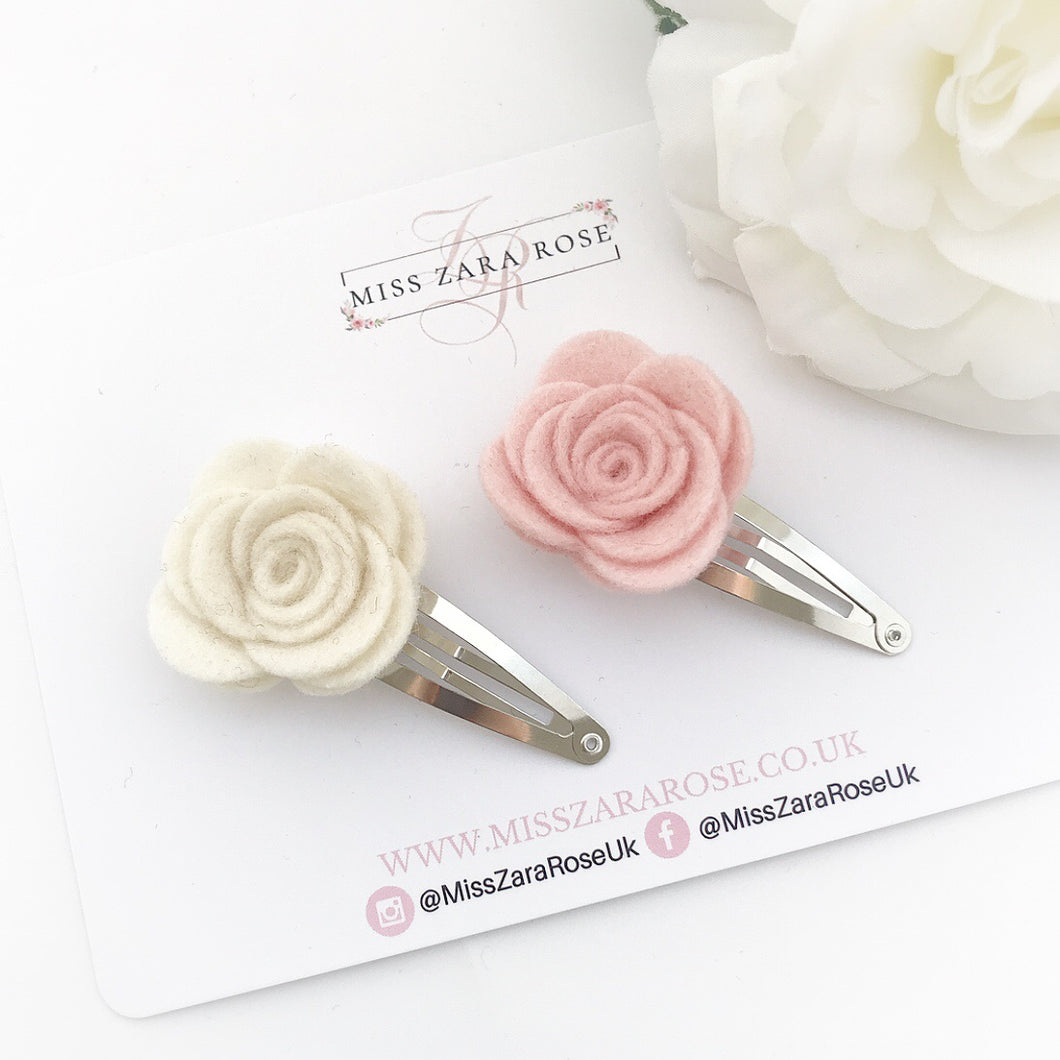 Design Your Own Bespoke Wool Felt Rose Clip Pair (two clips, 54 colour choices)
