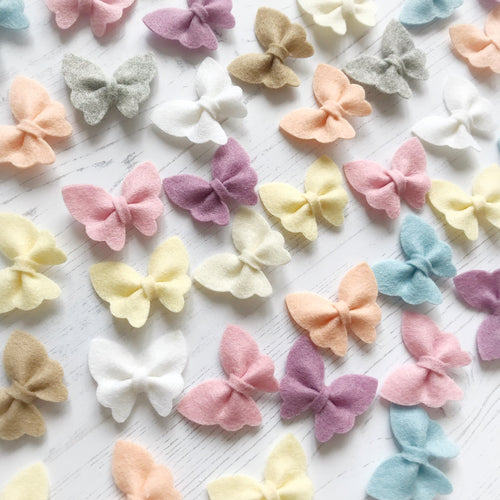Set of 5 Merino Wool Butterfly Bows - Headbands or Clips (54 colour choices) - Tenner Tuesday
