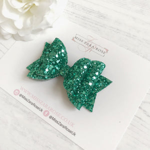 Luxe Green Glitter Double Dolly Bow