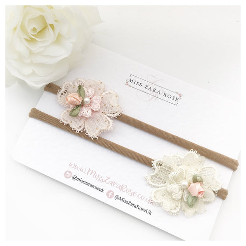 Ivory and Blush Vintage Cluster Duo - Clips or Headbands