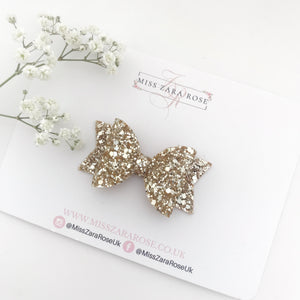 Luxury Champagne Gold Glitter Dolly Bow (single layer)