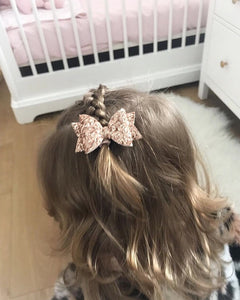Luxury Rose Gold Glitter Dolly Bow (single layer)