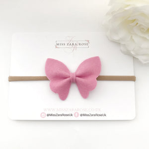 Medium Merino Wool Felt Butterfly Bow Headband or Clip - (54 colour choices)