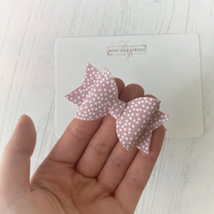 Dusky Pink Polka Dolly Bow (single layer)