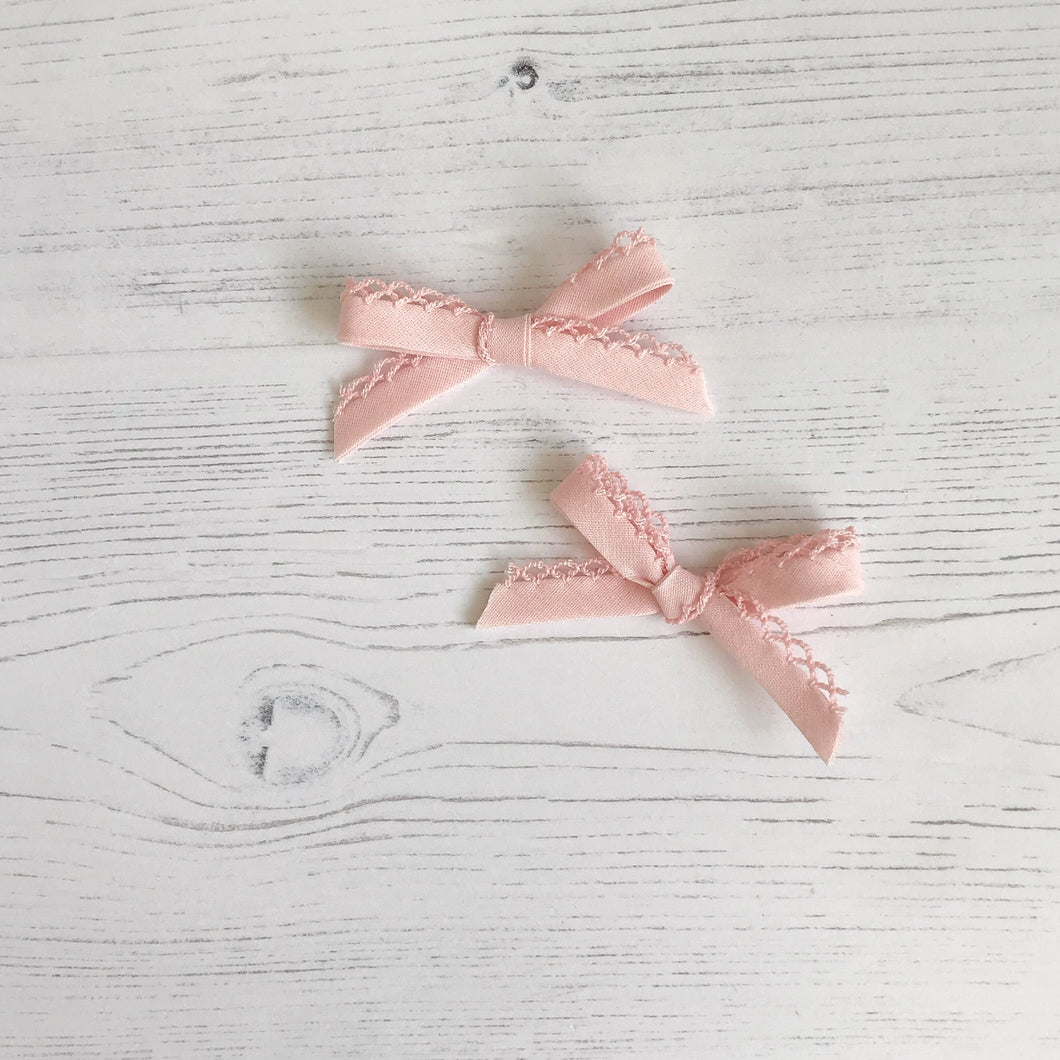 Blush Pink Lace Trim Bow Pigtail Clips (pair)