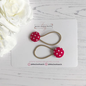 Red Polka Hair Bobbles (pair)