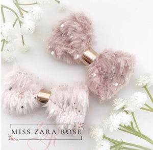 Shimmering Pale Pink Fluffy Fur Bow