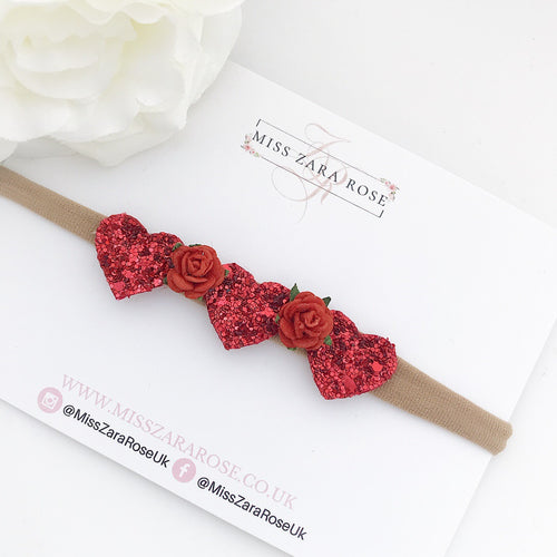 Red Sparkle 'Florence' Glitter Heart Headband
