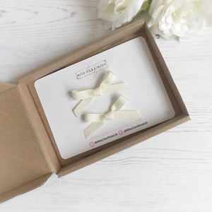 Cream Hand Tied Ribbon Bow Pigtail Clips (pair)