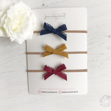 Autumnal Felicity Delicate Lace Bow Set (headbands or clips)