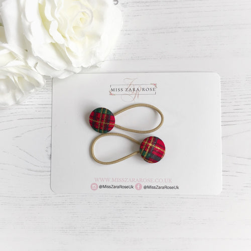 Red Tartan Hair Bobbles (pair)