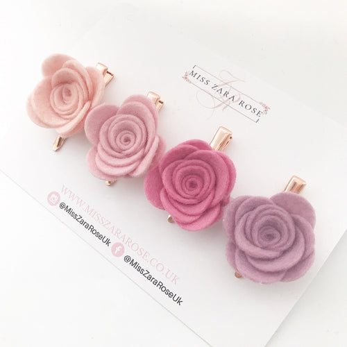 Pink and Lilac Wool Rose Clip Set