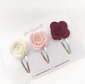 Design Your Own Bespoke Wool Felt Rose Clip Trio (three clips, 54 colour choices)