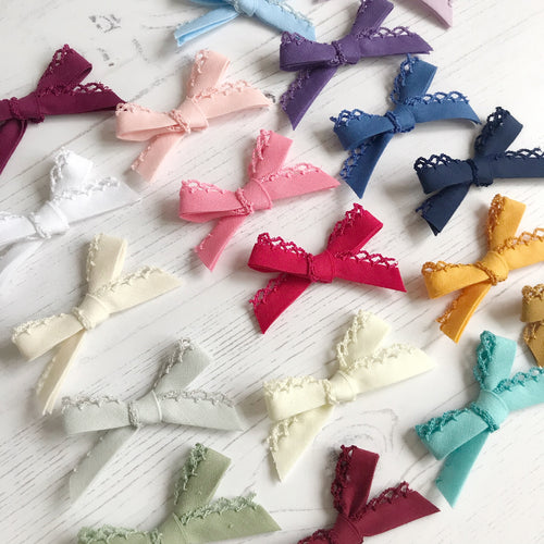 Felicity Delicate Lace Bow (19 colour choices, headband or clip)