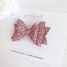 Luxury Rose Glitter Double Dolly Bow