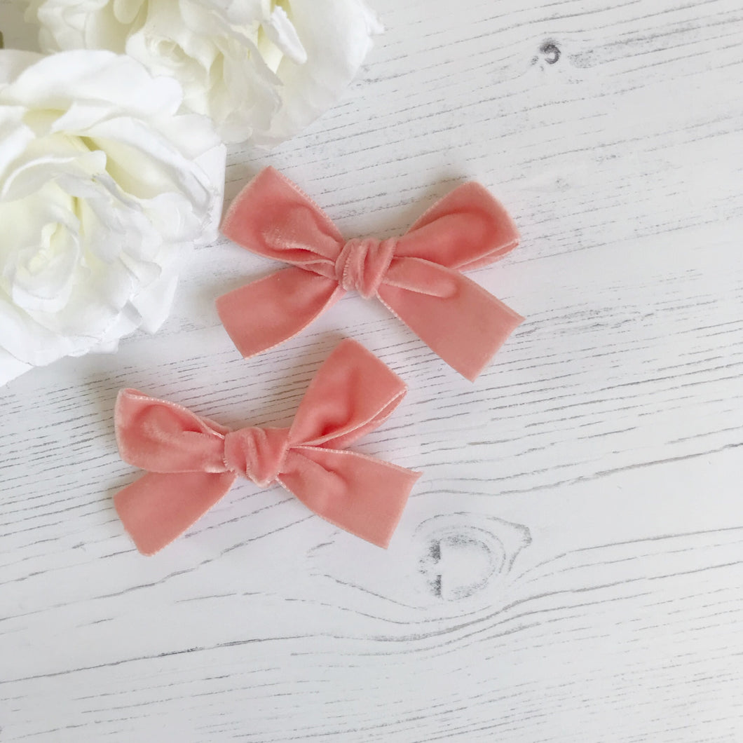 Peach Pigtail Clips (pair)