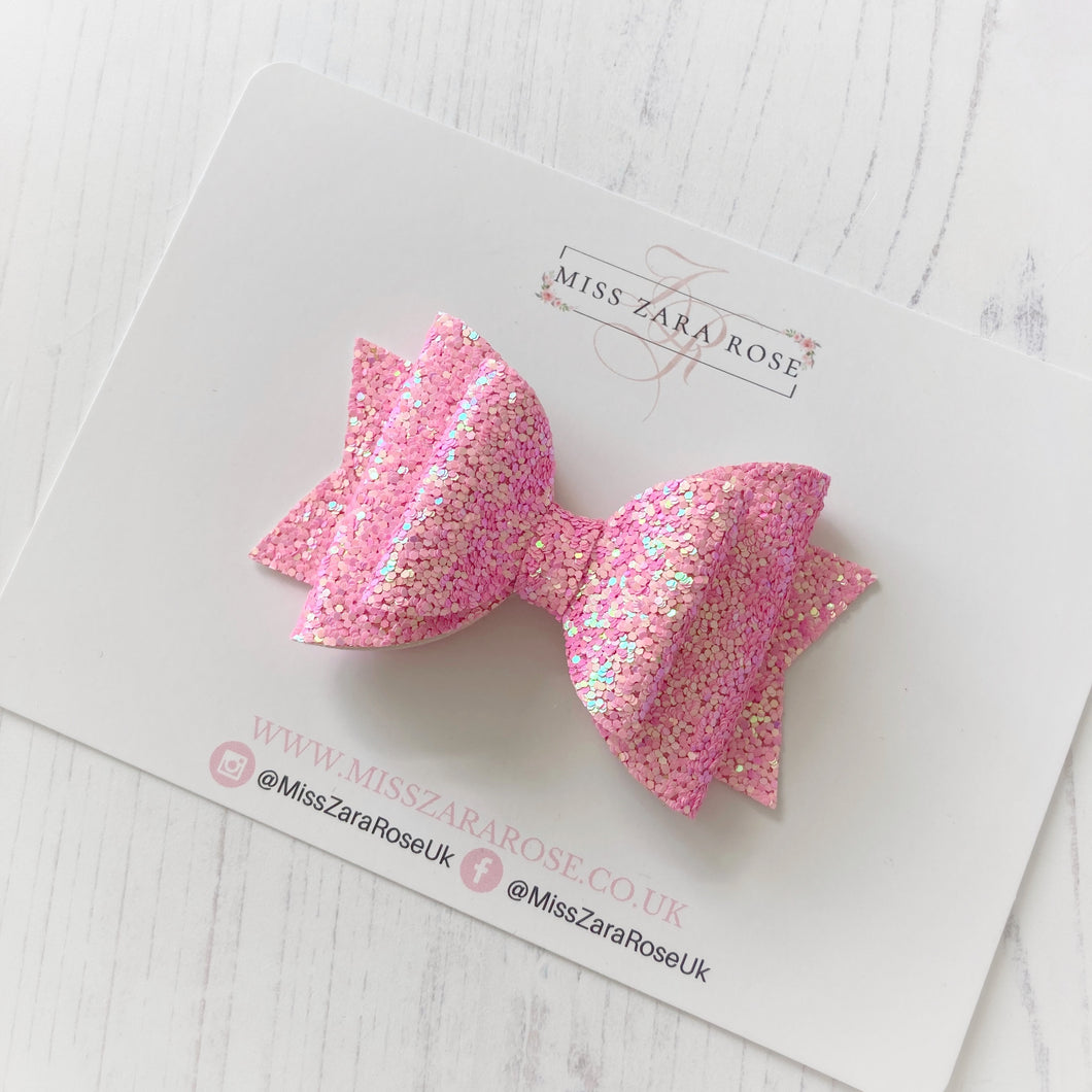 Candy Pink Double Dolly Glitter Bow
