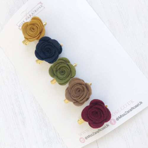 Autumn Essentials Wool Felt Rose Clips