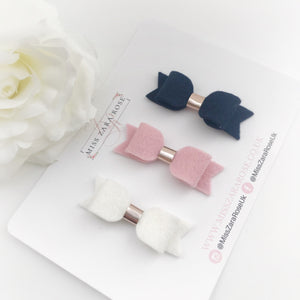 Felt Dainty Bow - (54 colour choices)