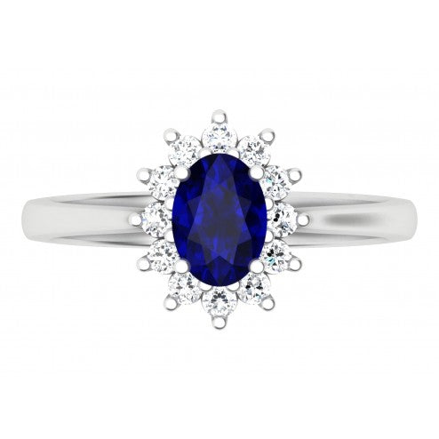 Royal Flower Sapphire and Diamond Ring