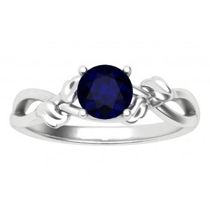 Lustrous Leaves Blue Sapphire Ring