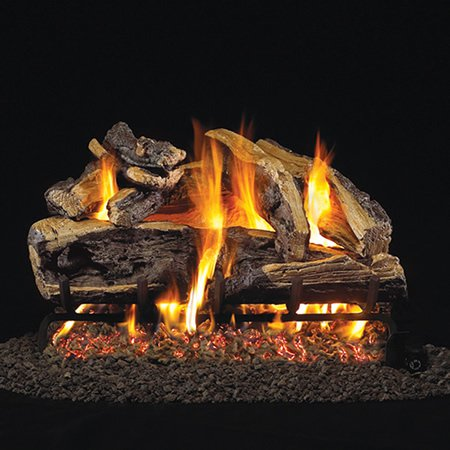 Charred Rugged Split Oak Logs with Vented G45 Burner