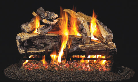 Charred Rugged Split Oak Logs with Vented G46 Burner