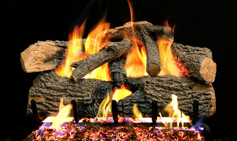 Charred Evergreen Oak Logs with G52 Radiant fyre Burner