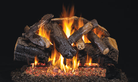 Charred Majestic Oak logs with P45 Dual Burner Flame System and Logs